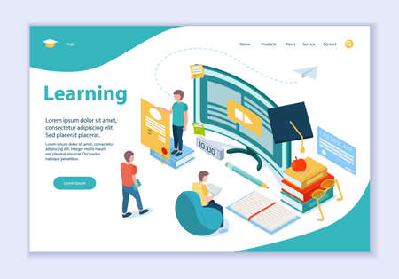 Creative website template of Learning concept, 3D isometric vector illustration, for graphic and web design  イラスト・ベクター素材