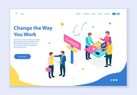 Creative website template of Change the Way You Work concept, 3D isometric design vector illustration