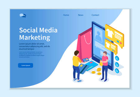 Creative website template of Social Media Marketing concept, 3D isometric design vector illustration 版權商用圖片 - 134858268