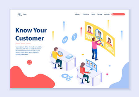 Creative website template of Know Your Customer concept, 3D isometric design vector illustration