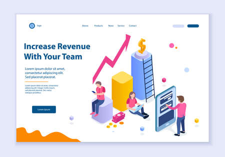 Creative website template of Increase Revenue with Your Team concept, 3D isometric design vector illustration