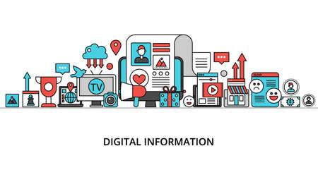 Concept for digital information, flat editable line design vector illustration