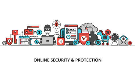 Concept of online security, network protection and secure online payments, modern flat thin line design vector illustration, for graphic and web design