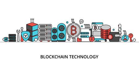 Concept of blockchain technology, flat thin line design vector illustration Иллюстрация