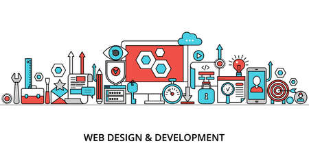 Concept of web design and development, modern editable flat line vector