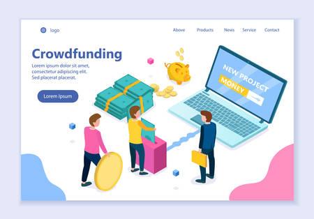 Concept of crowdfunding, creative website template, modern flat design vector illustration, for graphic and web design Ilustração