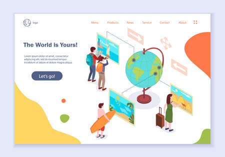 Concept of the world is yours, creative website template, modern flat design illustration, for graphic and web design