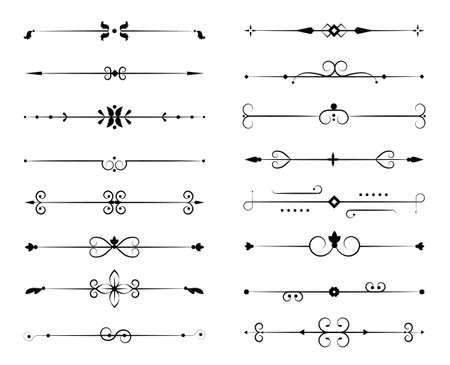 Set di svolazzi ornamentali in filigrana e divisori sottili su sfondo bianco. Elementi vintage classici, illustrazione vettoriale