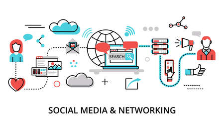Illustrazione vettoriale di design piatto moderno, concetto di social media, social networking, comunità web e pubblicazione di notizie per grafica e web design