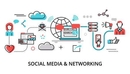 Nowoczesna, płaska konstrukcja ilustracji wektorowych, koncepcja mediów społecznościowych, sieci społecznościowych, społeczność internetowa i publikowanie wiadomości dotyczących projektowania graficznego i internetowego