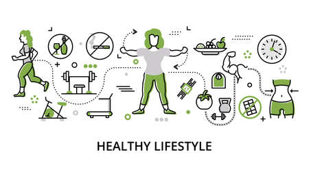 Modern flat thin line design vector illustration, greenery concept of healthy lifestyle and recreation, for graphic and web design