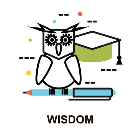 Modern flat line design vector illustration, concept of wisdom for graphic and web design