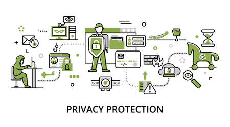 Concept of privacy protection, modern flat thin line design vector illustration, for graphic and web design