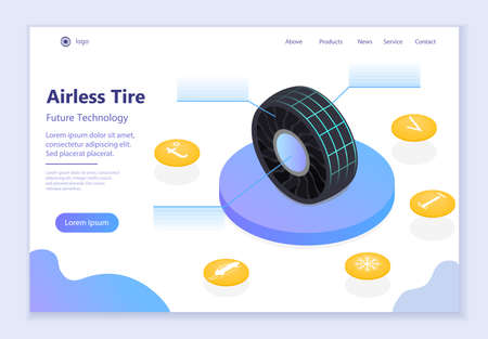 Future technology - Airless Tire, 3d isometric vector illustration, for graphic and web design