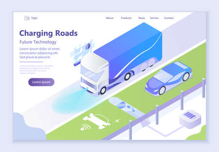 Future technology - Charging Roads, 3d isometric vector illustration, for graphic and web design
