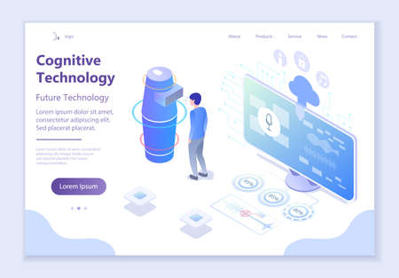 Future technology - Cognitive Technology, 3d isometric vector illustration, for graphic and web design