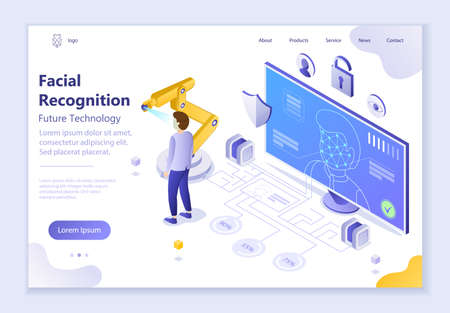Future technology - Facial Recognition, 3d isometric vector illustration, for graphic and web design