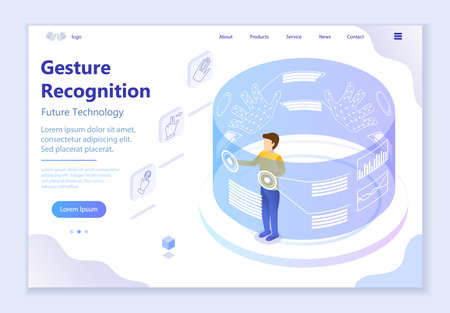 Future technology - Gesture Recognition, 3d isometric vector illustration, for graphic and web design