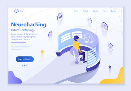 Future technology - Neurohacking, 3d isometric vector illustration, for graphic and web design Иллюстрация