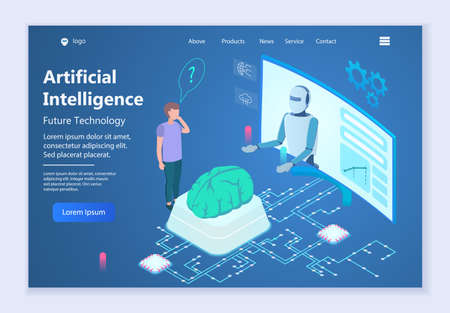 Future technology - Artificial Intelligence, 3d isometric vector illustration, for graphic and web design