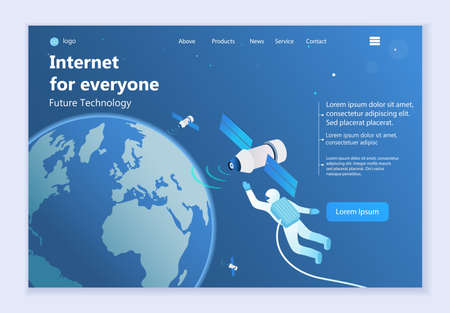 Future technology - Internet for Everyone, 3d isometric vector illustration, for graphic and web design