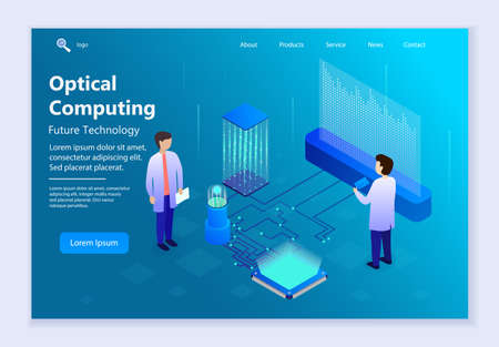 Future technology - Optical Computing, 3d isometric vector illustration, for graphic and web design 向量圖像