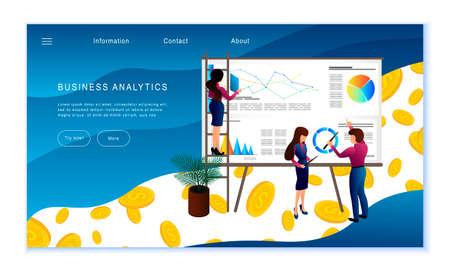 Creative website template of Business Analytics concept, flat design vector illustration