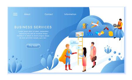 Creative website template of Business Services concept, flat design vector illustration