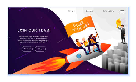 Creative website template of Join Our Team concept, flat design vector illustration 写真素材 - 143288194
