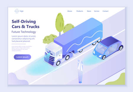 Future technology - Self-Driving Cars and Trucks, 3d isometric vector illustration, for graphic and web design