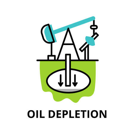 Modern flat thin line design icon, vector illustration, infographic concept of Oil Depletion icon, for graphic and web design