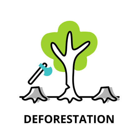 Modern flat thin line design icon, vector illustration, infographic concept of Deforestation, for graphic and web design Иллюстрация