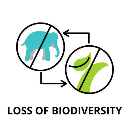 Modern flat thin line design icon, vector illustration, infographic concept of Loss of Biodiversity, for graphic and web design