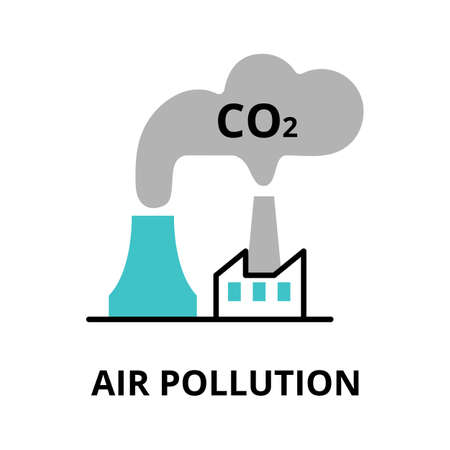 Modern flat thin line design icon, vector illustration, infographic concept of Air Pollution, for graphic and web design