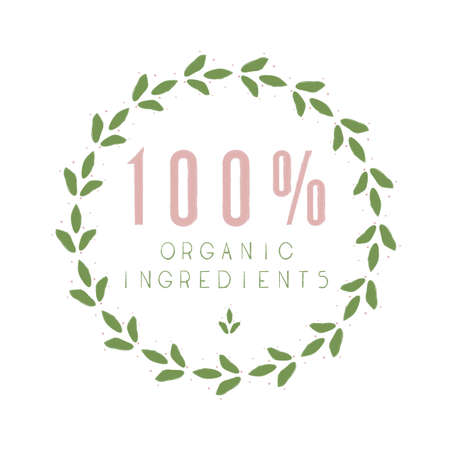 100% Organic Ingedients sticker, vector illustration for graphic and design
