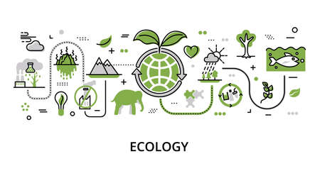 Infographic greenery concept of Ecology problem, modern flat thin line vector illustration, for graphic and web design