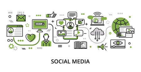 Infographic greenery Social Media concept, modern flat thin line vector illustration, for graphic and web design Çizim