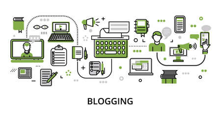 Infographic greenery Blogging concept, modern flat thin line vector illustration, for graphic and web design Çizim
