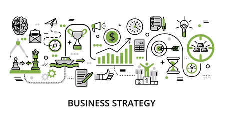 Infographic greenery Business Strategy concept, modern flat thin line vector illustration, for graphic and web design Çizim