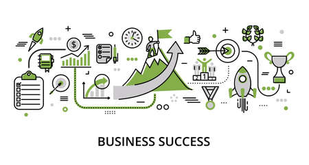 Infographic greenery Business Success concept, modern flat thin line vector illustration, for graphic and web design