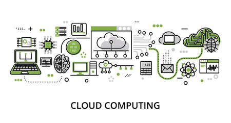 Infographic greenery Cloud Computing concept, modern flat thin line vector illustration, for graphic and web design Çizim