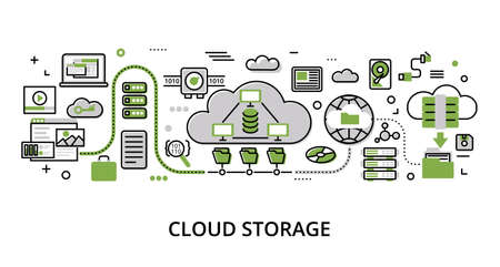 Infographic greenery Cloud Storage concept, modern flat thin line vector illustration, for graphic and web design