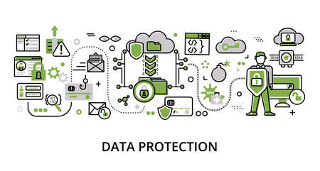 Infographic greenery Data Protection concept, modern flat thin line vector illustration, for graphic and web design