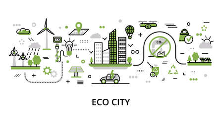Infographic greenery Eco City concept, modern flat thin line vector illustration, for graphic and web design