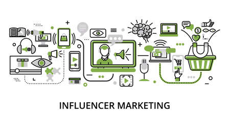 Infographic greenery Influencer Marketing concept, modern flat thin line vector illustration, for graphic and web design