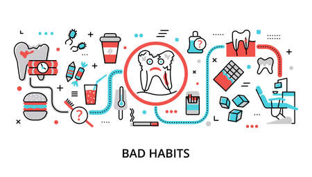 Infographic Bad Habits concept, modern flat thin line vector illustration, for graphic and web design