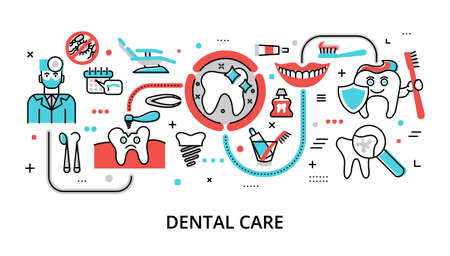 Infographic Dental Care concept, modern flat thin line vector illustration, for graphic and web design