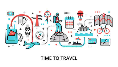 Infographic Time to Travel concept, modern flat thin line vector illustration, for graphic and web design