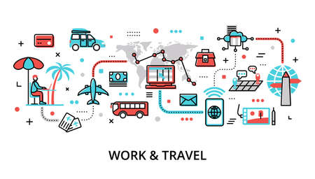 Infographic Work and Travel concept, modern flat thin line vector illustration, for graphic and web design