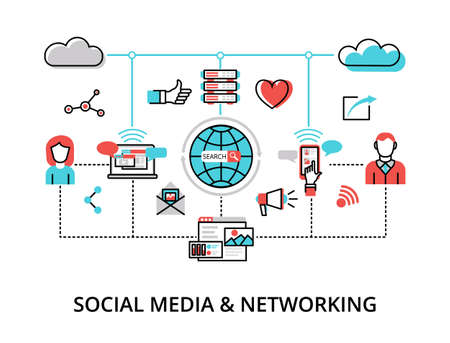 Infographic Social Media and Networking concept, modern flat thin line vector illustration, for graphic and web design